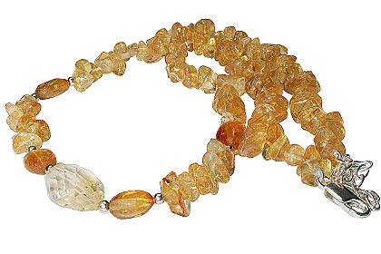 Design 12724: yellow citrine chipped necklaces