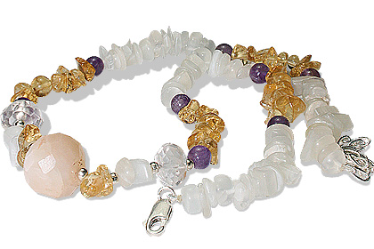 Design 12725: purple,white,yellow moonstone chipped necklaces