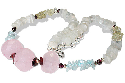 Design 12726: pink,red,white moonstone chipped necklaces
