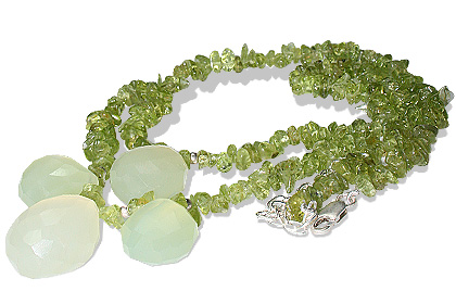 Design 12727: green peridot chipped necklaces