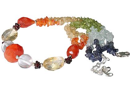 Design 12729: blue,green,orange carnelian chipped necklaces