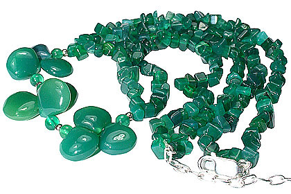 Design 12731: green onyx chipped necklaces