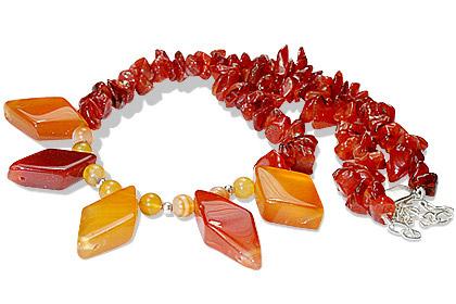 Design 12734: orange carnelian chipped necklaces
