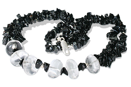 Design 12736: black,white black onyx chipped necklaces