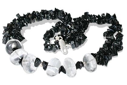 Design 12736: black,white black onyx chipped necklaces