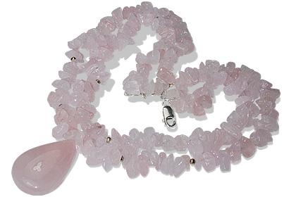 Design 12737: pink rose quartz chipped, multistrand necklaces