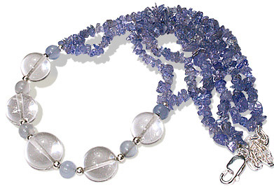 Design 12745: blue,white tanzanite chipped necklaces