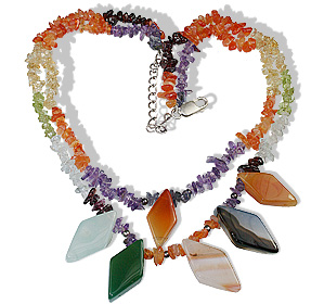 Design 12769: orange,multi-color multi-stone chipped necklaces