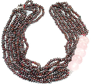 Design 12879: pink,red garnet multistrand necklaces