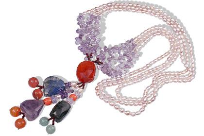 Design 12880: multi-color multi-stone multistrand necklaces