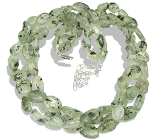 Design 12886: green prehnite multistrand necklaces