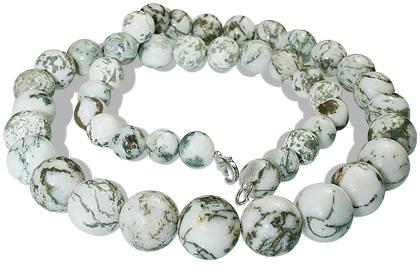 Design 12894: green,white agate necklaces
