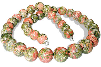 Design 12896: green,orange unakite necklaces