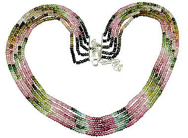 Design 13245: pink,multi-color tourmaline classic necklaces