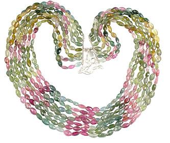 Design 13247: multi-color tourmaline classic, multistrand necklaces