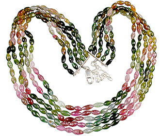Design 13248: green,pink,yellow tourmaline classic necklaces