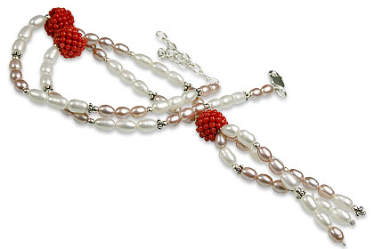 Design 13250: orange,white pearl classic necklaces