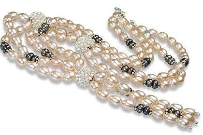 Design 13251: gray,white pearl classic necklaces