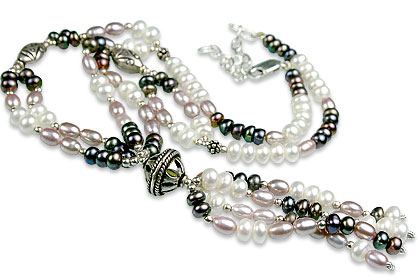 Design 13254: gray,pink,white pearl classic necklaces
