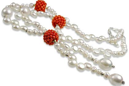 Design 13256: orange,white pearl classic necklaces