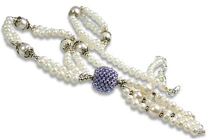 Design 13259: blue,white pearl classic necklaces