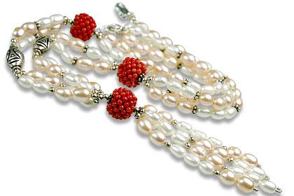 Design 13260: orange,white pearl classic necklaces