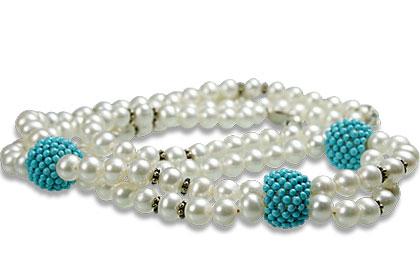 Design 13262: blue,white pearl classic necklaces