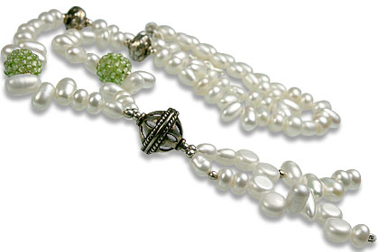 Design 13263: green,white pearl classic necklaces