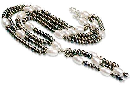 Design 13280: black,white pearl classic necklaces