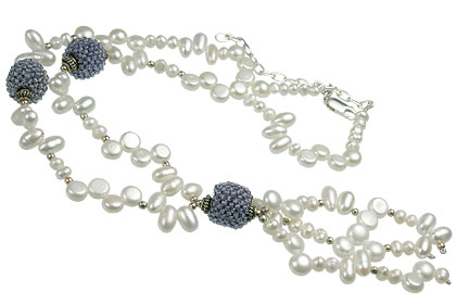 Design 13281: blue,white pearl classic necklaces