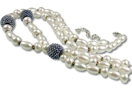 Design 13298: blue,white pearl classic necklaces