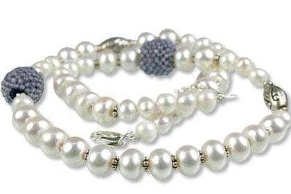Design 13301: blue,white pearl classic necklaces
