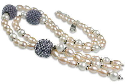 Design 13307: blue,white pearl necklaces