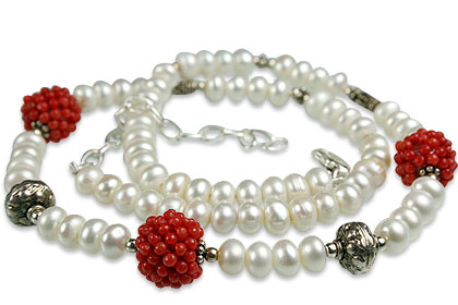 Design 13308: orange,white pearl classic necklaces