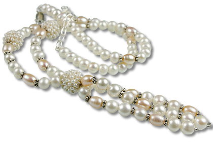 Design 13317: pink,white pearl classic necklaces