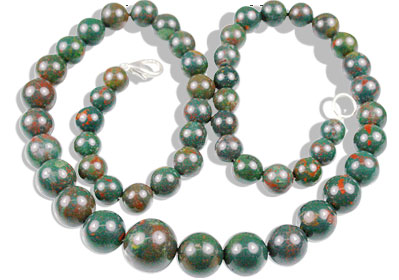 Design 13511: green,red bloodstone classic necklaces