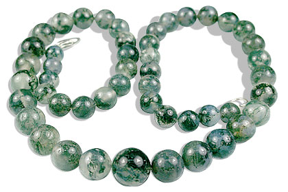 Design 13512: green,white moss agate classic necklaces