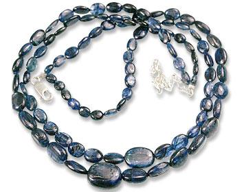 Design 13554: blue kyanite multistrand necklaces