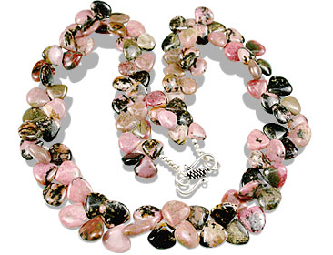 Design 13564: black,pink rhodonite necklaces