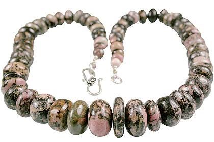 Design 13569: black,pink rhodonite necklaces