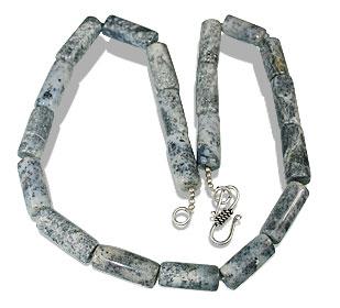 Design 13572: black,white dendrite opal necklaces