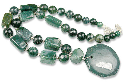 Design 13592: green bloodstone necklaces