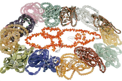 Design 14033: multi-color bulk lots necklaces