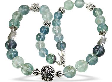 Design 14078: green,multi-color fluorite classic necklaces