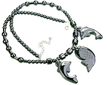 Design 14087: black,gray hematite mens, pendant necklaces