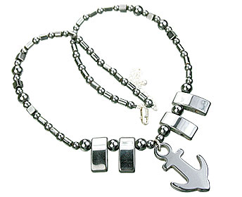 Design 14088: black,gray hematite charm, mens, pendant necklaces