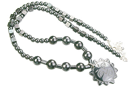 Design 14089: black hematite charm, mens, pendant necklaces
