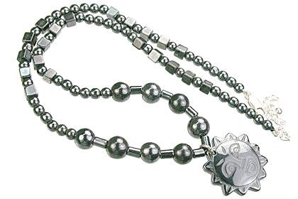 Design 14089: black hematite charm, mens, pendant necklaces
