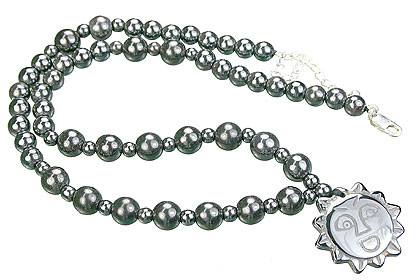 Design 14095: black,gray hematite charm necklaces