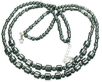 Design 14096: black,gray hematite charm necklaces